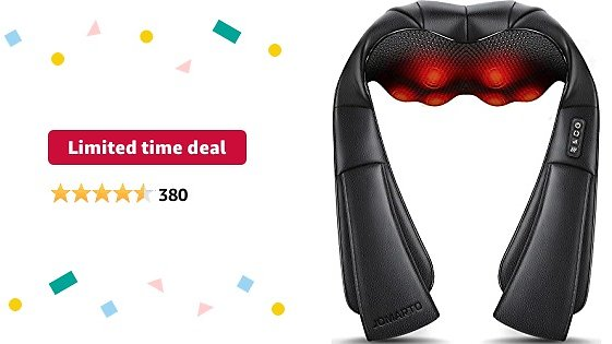 Limited-time Deal: Back Massager, LIANGZAI PU Material Electric Shoulder Massager with Heat, Kneading Massager Shawl for Neck, Back, Shoulder, Foot, Leg , Use At Home, Office, Car…