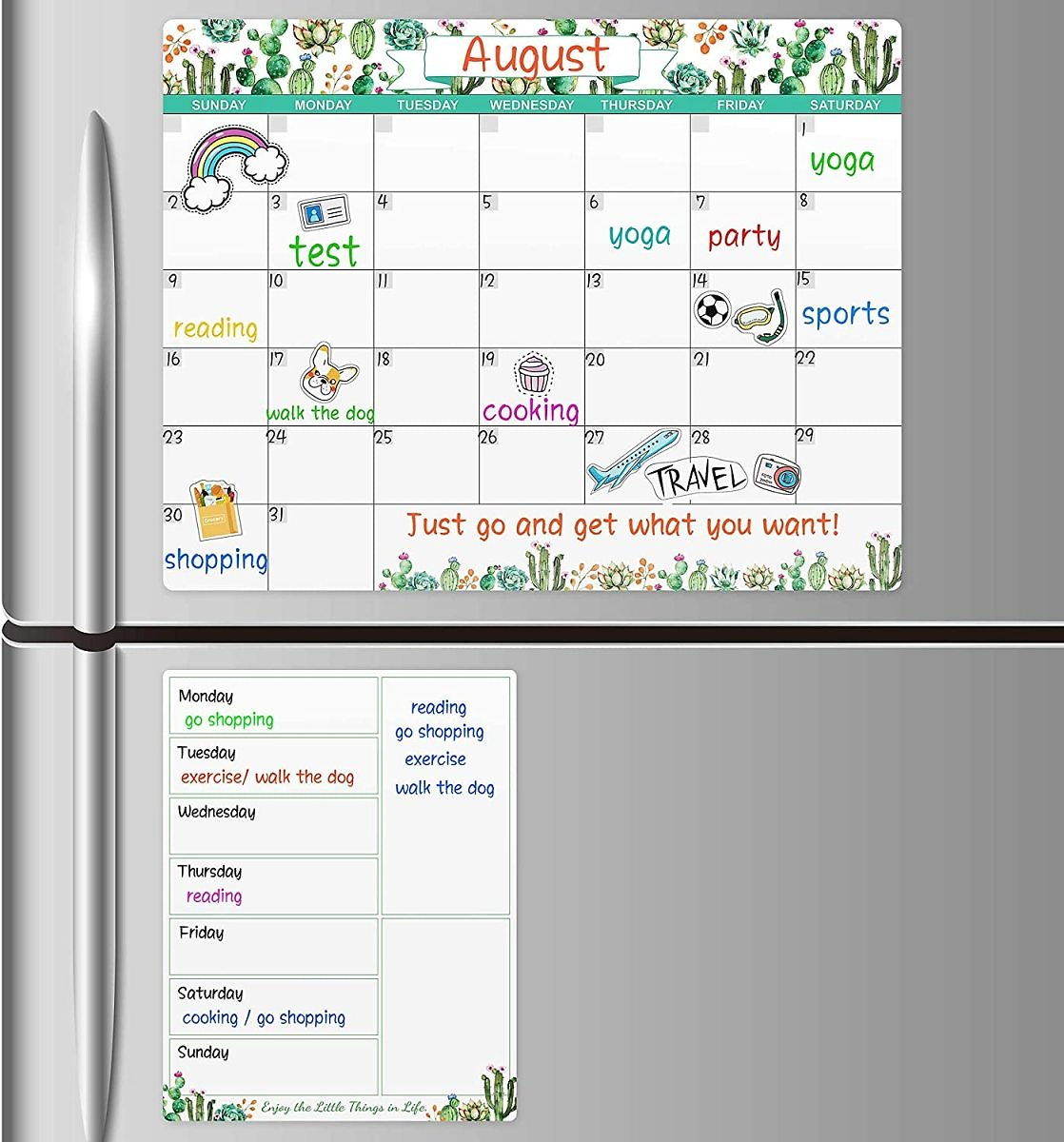 Magnetic Dry Erase Calendar with Grocery List