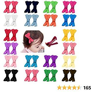 40pcs 2 Inch Tiny Hair Bows Clips Fully Lined for Baby Girls Fine Hair Infants Toddlers Non Slip 20 Pairs LCLHB