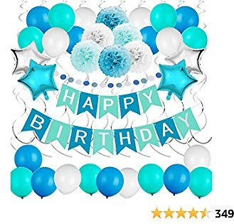 JOYYPOP Blue Birthday Decorations 54 Pcs Blue Birthday Party Supplies with Happy Birthday Banners Star Foil Balloons Blue Balloons Paper Pom Poms Hanging Swirls for Baby Shower Birthday Party