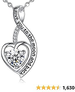 CELESTIA Sterling Silver I Love You to The Moon and Back Necklace for Women, Infinity Heart Neckless CZ Birthday Gift for Mother, Daughter, Sister, Wife, 18 Inch Chain