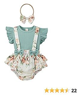 Baby Girl Shorts Outfit Ruffle Sleeve Ribbed Romper Bodysuit Floral Shorts Headband 3Pcs Summer Clothes Set