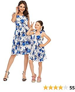 Alsol Lamesa Floral Dresses for Women Girl Bowknot Sleeveless Mommy and Me Dresses Flowy Matching Dress