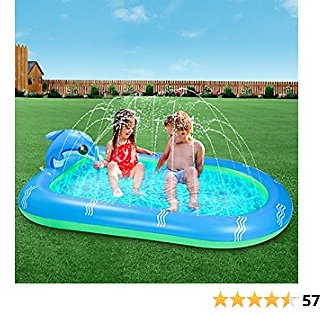 SEATANK Dolphin Inflatable Pools Kiddie Swimming Pool Outdoor Water Sprinkler for Kids Babies Toddlers Summer Pool Party (Large)