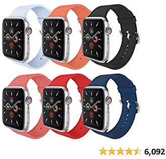 MITERV Compatible with Apple Watch Band 38mm 40mm Soft Silicone Replacement Band for Apple Watch SE Series6,5,4,3,2,1 for 38mm 40mm Apple Watch