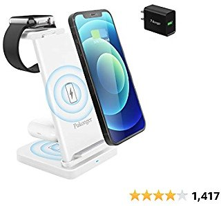 3 in 1 Wireless Charging Station, Qi-Certified Fast Wireless Charger Stand Dock for Airpods Pro/ 2, Apple Watch 6 SE 5 4 3 2, IPhone 12/11/ 11Pro/ X/XS/XR /8/8 Plus/Qi Phones