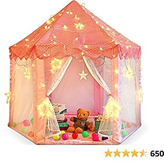 Princess Castle Play Tent for Little Girls with Large Star String Lights & Balls ,Kid's Hexagon Playhouse for Children Indoor and Outdoor Games 55'' X 53'' Pink