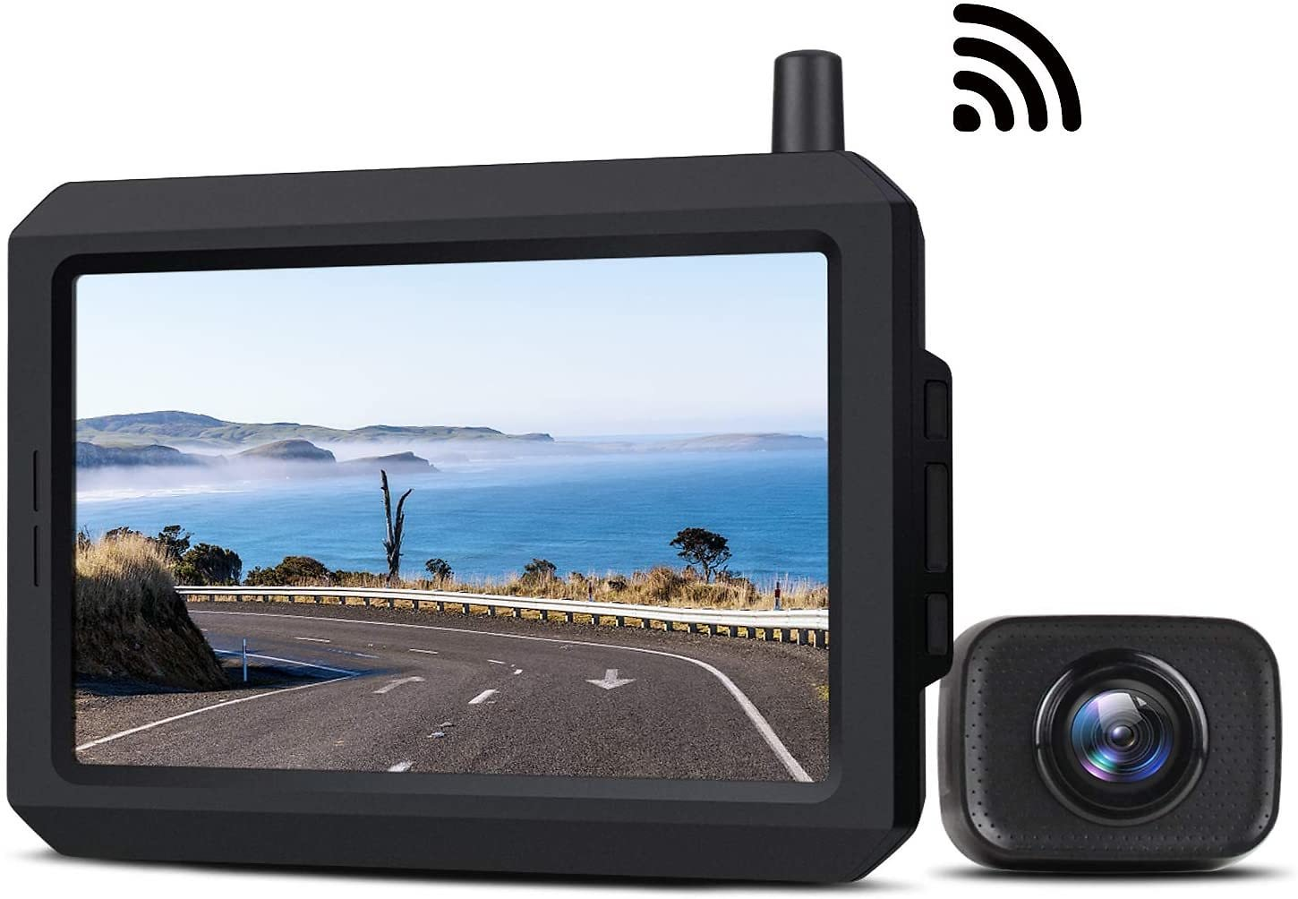 5 Inch Wireless Backup Camera Kit with Digital Signal, Waterproof Rear View Camera with 5″ TFT-LCD Monitor, Ideal for Sedans