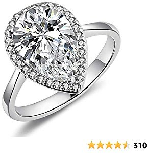 LAZLUVU 4.85 Carat Teardrop Cubic Zirconia Rings for Women Solitaire Halo Promise Wedding Engagement Ring Mothers Day Gift for Her Size 5-11