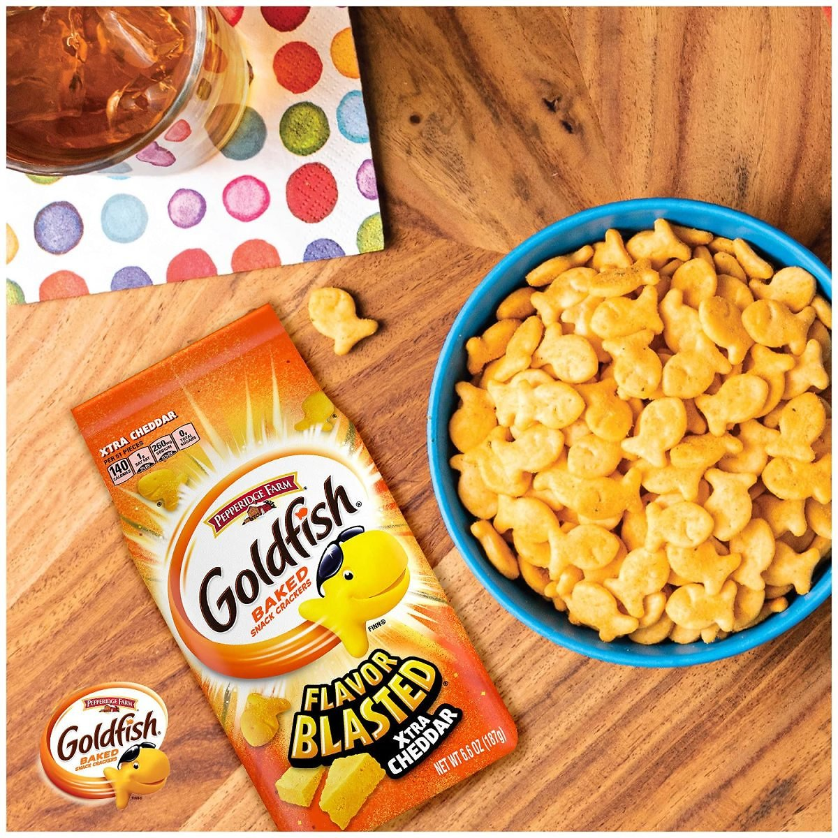 Pepperidge Farm Goldfish Flavor Blasted Xtra Cheddar Crackers, (Pack of 6)