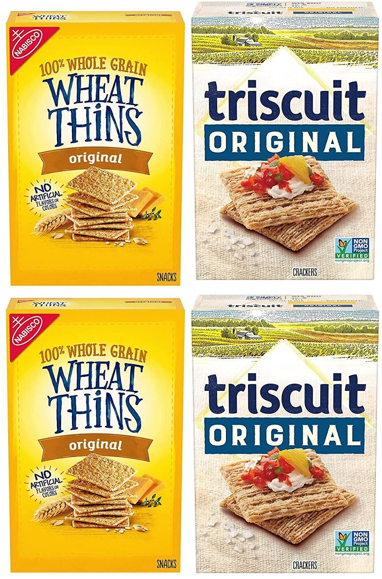 4 Boxes Wheat Thins Original and Triscuit Original Crackers Variety Pack