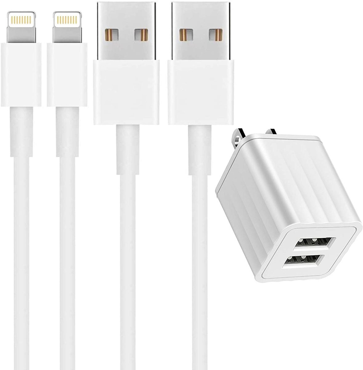 2-Pack Veetone 6-Feet Apple MFi Certified Lightning Charge & Sync Cable with Dual Port USB Wall Charger 2-Pack 6ft MFi Certifie
