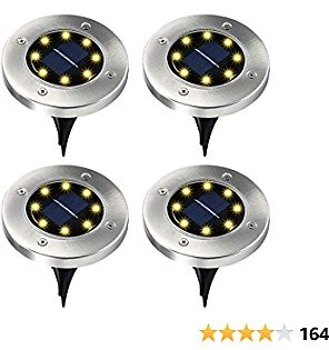 Elfeland Solar Ground Lights Outdoor Solar Lights Waterproof Auto On/Off Landscape Spike Lawn Light Pathway Light Solar Powered Disk Light for Yard Deck Lawn Patio Walkway (Warm White-4 Pack)