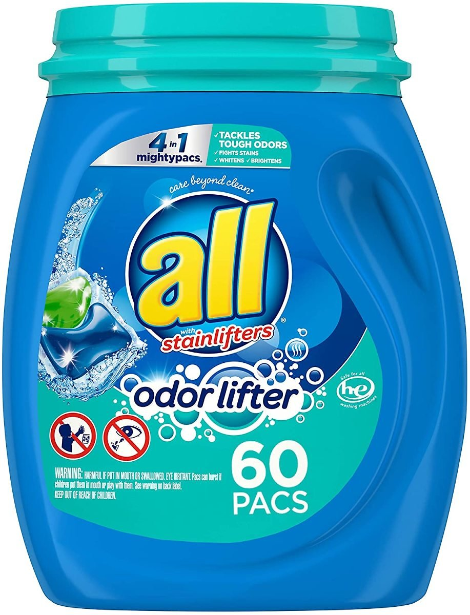 60-Count All Mighty Pacs Laundry Detergent 4 in 1 with Odor Lifter for $7.04