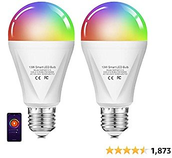 Alexa Smart WiFi Light Bulb, Wixann 13W 120W Equivalent RGBCW Color Changing Led Bulb, 2700K-6500K 1300LM Dimmable Multicolor Bulb A19 E26, Compatible with Alexa Google Home, No Hub Required - 2 Pack