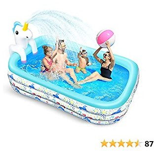 Inflatable Swimming Pool for Kids, Avhrit Kiddie Pool with Sprinkler, Anti-Slip Bottom, Blow Up Lounge Pool Splash for Ages 3+ Babies Toddlers Family Above Ground, Backyard, Garden, 95''x56''x27''