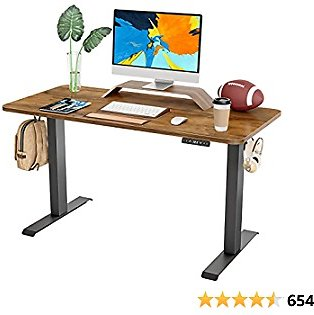 FAMISKY Dual Motor Adjustable Height Electric Standing Desk, 40 X 24 Inches Stand Up Home Office Desk with Splice Tabletop, Black Frame/Walnut Top