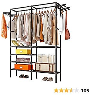 Untyo Clothing Rack 5 Tiers Clothes Rack with 12 Side Hooks Portable Wardrobe Closet (Black)