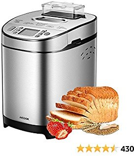 Bread Maker, 19 Setting(13 Program, Nut Dispenser Setting, 3 Crust Color & 2 Loaf Sizes), AICOOK 2LB Stainless Steel Bread Machine with Gluten-Free, Large LCD Display, Nonstick Pan, Keep Warm Set