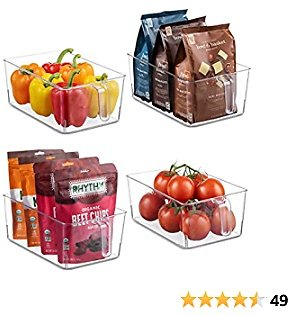 Set Of 4 Clear Refrigerator Pantry Organizer Bins Household Plastic Food Storage Basket with Handles for Kitchen, Countertops, Cabinets, Refrigerator, Freezer, Bedrooms, Bathrooms