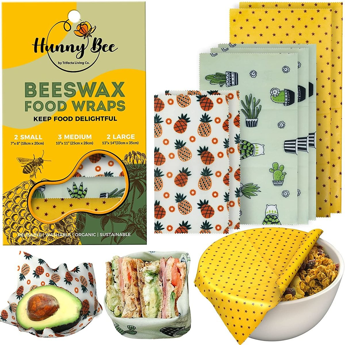 HUNNYBEEE Beeswax Reusable Food Wraps for Home Kitchen