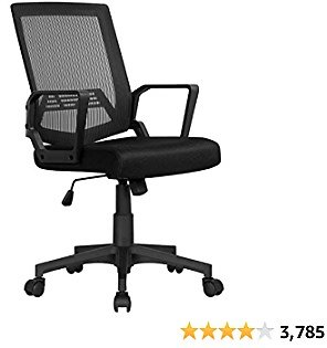 YAHEETECH Computer Desk Chair Office Task Chair Ergonomic Mid Back Lumbar Support with Wheels Comfortable Mesh Seat Adjustable Swivel Rolling Home Executive Chair, Black