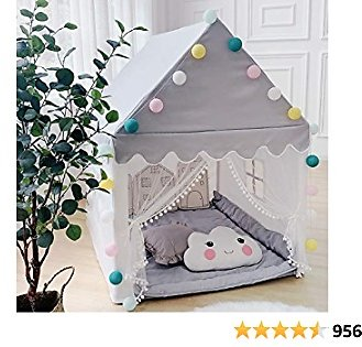 Kids Play Tent Large Playhouse Children Play Castle Fairy Tent for Girls Boys Toddler Indoor and Outdoor Toys Birthday Gift