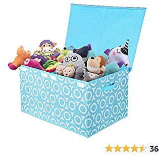 Kids Toy Box, Foldable Toy Chest with Durable Flip-Top Lid, Collapsible Grimace Fabric Toys Storage Organizer Bin for Dog Toys, Children Toys, Blanket, Clothes - Perfect for Playroom Living Room