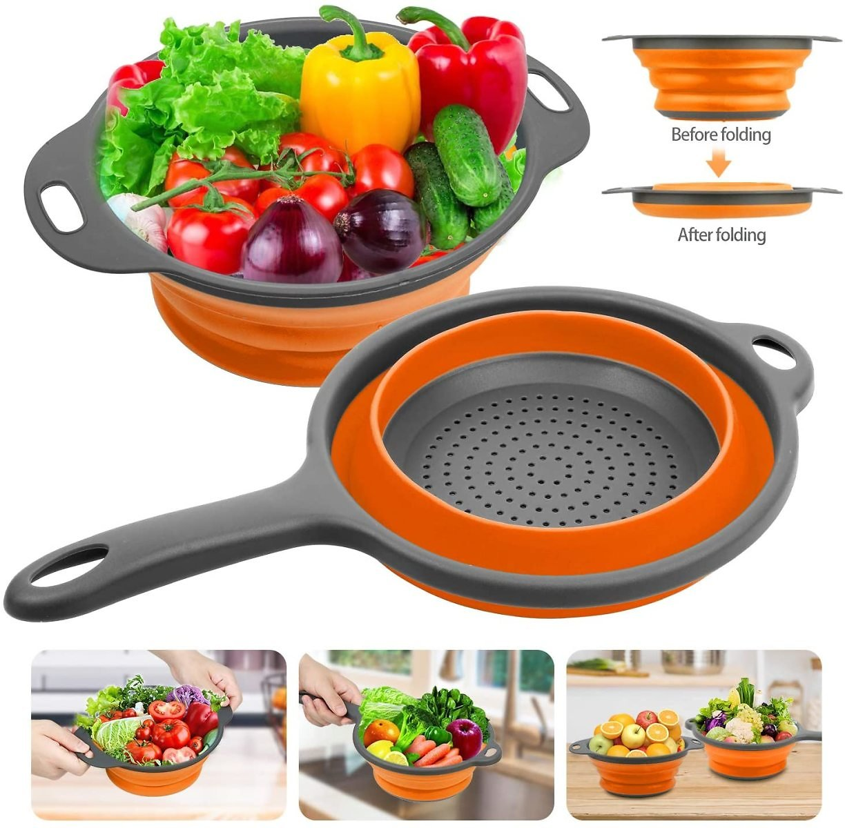 2-Piece Rareccy Silicone Collapsible Colanders and Strainers for $6.99
