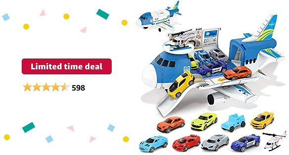 Limited-time Deal: BeebeeRun Transport Cargo Airplane Toys - Car Toys for 3 4 5 Year Old Boys, 9 in 1 Take Apart Plane Toys Including 8 Sports Cars and 1 Helicopter, Gift for Kids Boys
