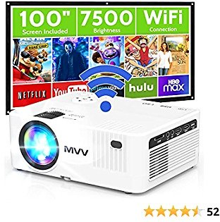 MVV WiFi Projector with 100'' Screen, [200 ANSI-Over 7500 Lux] Projector for Outdoor Movies 1080P Portable Synchronize Smartphone Screen Compatible with TV Stick HDMI USB DVD Player