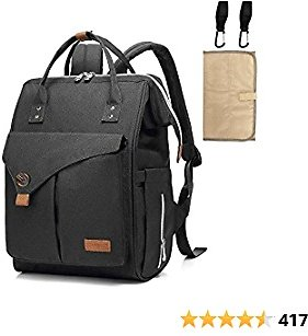 Diaper Bag Backpack, Travel Baby Bags with Stroller Straps & Changing Pad, Large Capacity, Stylish and Multi-Function Maternity Back Pack for Mom and Dad (Black)