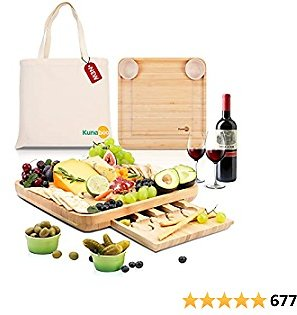 Kunaboo Cheese Board with Avocado Green Bowls - FSC Certified - Charcuterie Tray with Cutlery Set - Best for Wedding, Housewarming Gift