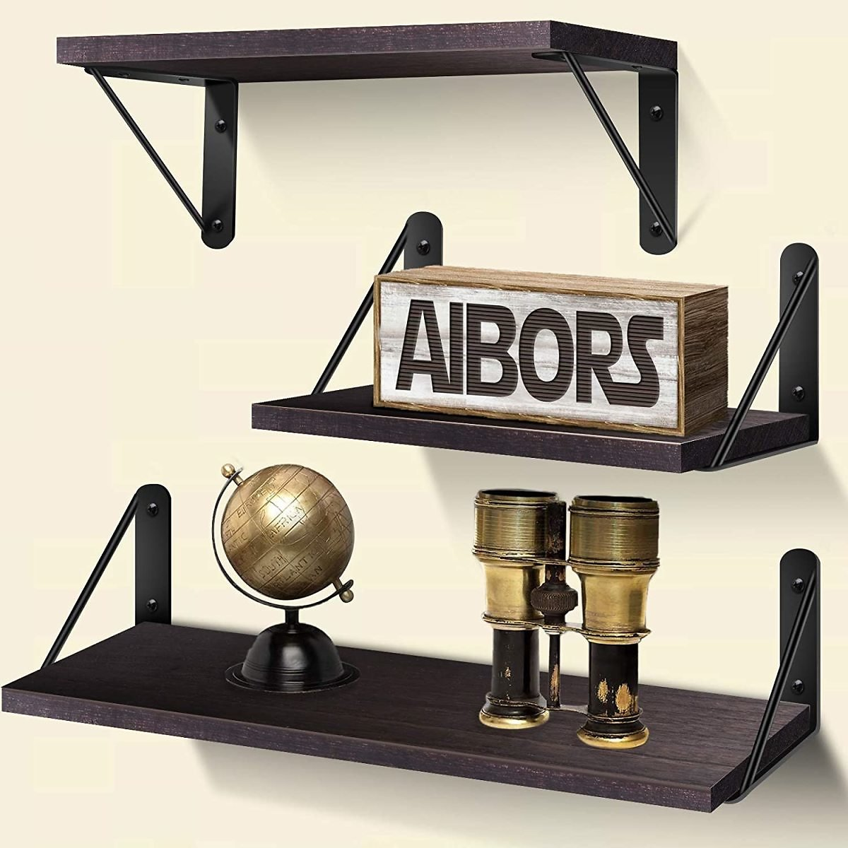 Set of 3 AIBORS Rustic Wood Floating Shelves for Wall for $11.49