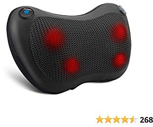 Shiatsu Neck and Back Massager with Heat - Massager Pillow -Deep Tissue Kneading Massage for Back, Neck, Shoulder - Stress Relax At Home Office and Car - Gifts for Women/Men/Dad/Mom