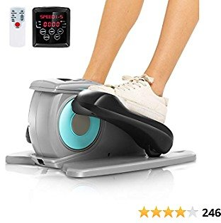 ANCHEER Under Desk Electric Mini Elliptical Machine, Remote Control Portable Exercise Elliptical Trainer with Large Pedal, LCD Monitor Compact Trainer for Home & Office Gym