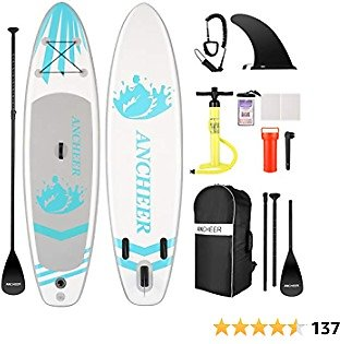 ANCHEER Inflatable Stand Up Paddle Board (6 Inches Thick), ISUP Package W/Premium SUP Accessories & Backpack, Wide Non-Slip Deck, Big Fin, Adjustable Paddle, Leash, Hand Pump,Youth & Adult