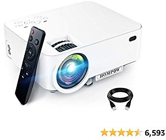 Mini Projector, Hompow 5500L Movie Projector, Smartphone Portable Video Projector 1080P Supported and 176