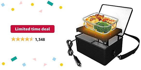 Limited-time Deal: Portable Oven, 12V Car Food Warmer Portable Personal Mini Oven Electric Heated Lunch Box for Meals Reheating & Raw Food Cooking for Road Trip/Camping/Picnic/Family Gathering(Black)