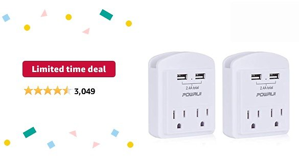Limited-time Deal: USB Wall Charger, Small Surge Protector, POWRUI USB Outlet with 2 USB Ports (2.4A Total) and Top Phone Holder for Smart Phones, 1080Joules, White (2-Pack), ETL Certified…