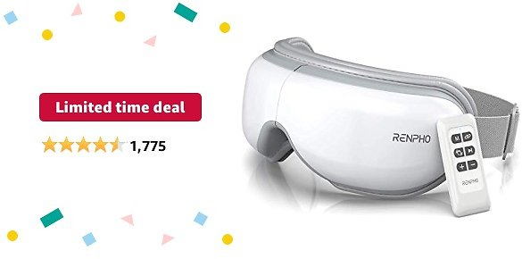 Limited-time Deal: RENPHO Eye Massager with Remote Control & Heat, Compression Bluetooth Music Eye Massage Mask Rechargeable Heated Eye Massager for Relax Eye Strain Dark Circles Eye Bags Dry Eyes Improve Sleep-White