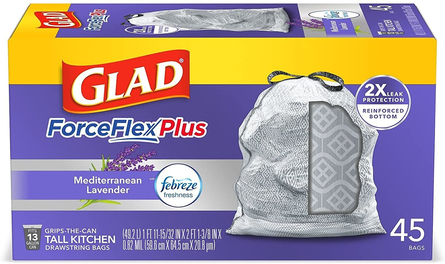 Glad ForceFlexPlus Tall Kitchen Drawstring Trash Bags, Lavender, 13 Gal, 45 Ct (Package May Vary), Gray