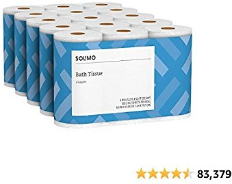 Amazon Brand - Solimo 2-Ply Toilet Paper, 6 Count (Pack of 5)