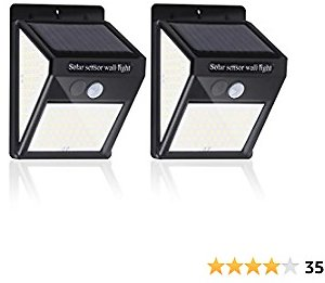 Solar Outdoor Lights, Solar Motion Sensor Powered Light [ 140 LED with 3 Working Mode], IP 65 Waterproof Solar Powered Wireless Lights Wall Light for Garden, Fence, Patio and Garage (2 Pack)