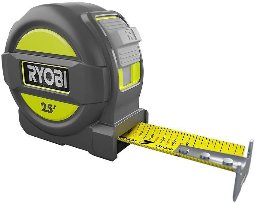 RYOBI 25 Ft. Tape Measure with Overmold and Wireform Belt Clip-RTM25
