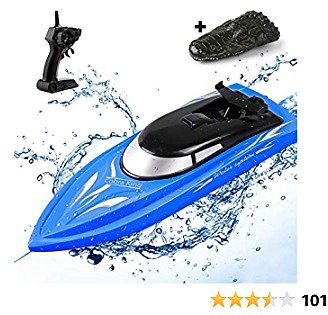 SGOTA Remote Control Boat for Kids and Adults, High Speed RC Boats Toy for Pools and Lakes, Boys Electric Radio Controlled Watercraft Toys Waterproof Gifts for Toddlers (Blue)