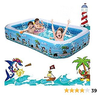 10 Ft Inflatable Swimming Pool, Rectangular Above Ground Pool for Kids 3-10, Large Blow Up Kiddie Pool for Toddlers Backyard Outdoor Water Play, Full-Sized 120