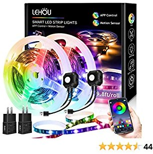 Motion Sensor LED Light Strip with App Control, 20ft RGB Under Bed Lights with 4 Timing Off Modes, 5V Plug-in Dimmable LED Night Light for Bed, Stair, Under Cabinet, Room Decor - 2-Pack 9.8ft Kit