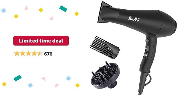 Limited-time Deal: 1875W Ionic Hair Dryer with Diffuser, Professional Powerful Fast Dry Blow Dryer with Concentrator Attachments, Adjustable 3 Heat & 2 Speed