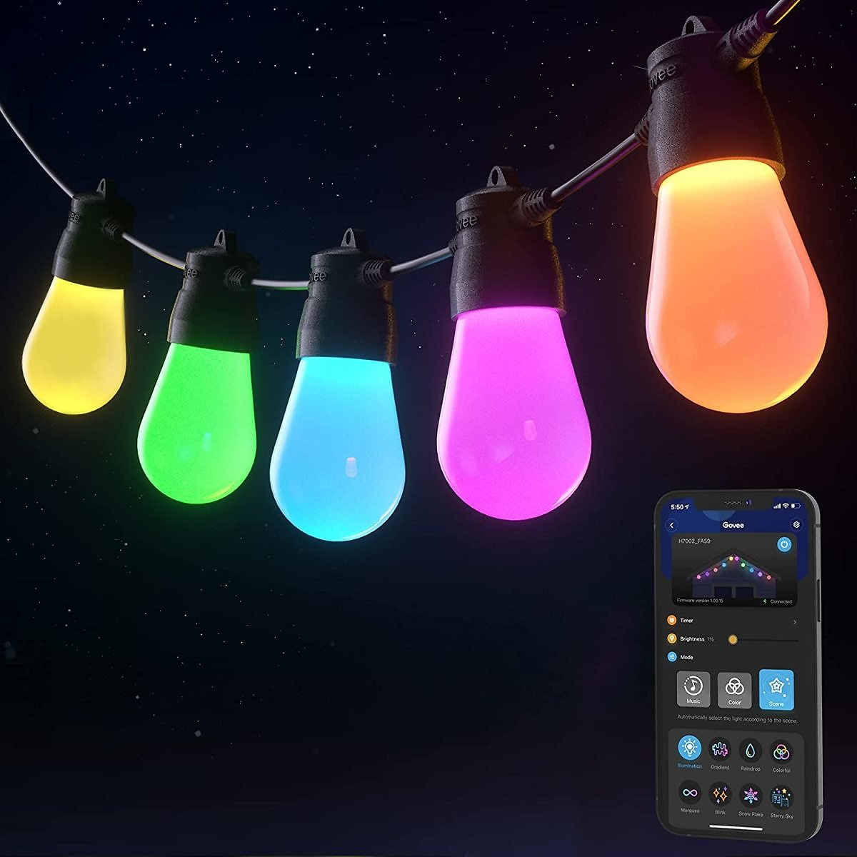 Govee 48FT Shatter-Proof Bluetooth RGBW Outdoor String Lights for $28.49